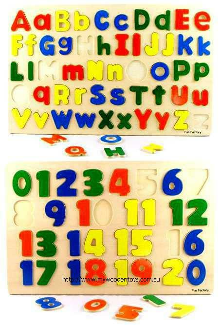 Educational Puzzles Alphabet and Numbers