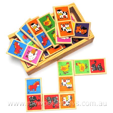 Simple Wooden Animal Dominoes