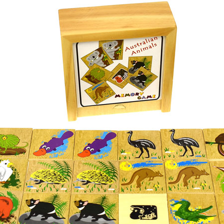 Australian Animals Wooden Memory Game