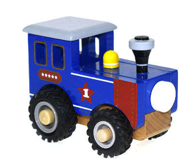 Blue Wooden Train With Rubber Wheels