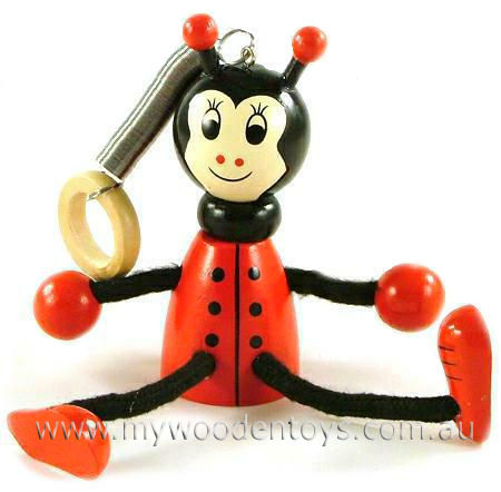 Bouncing Wooden Ladybird Mobile