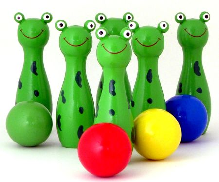 Bowling Frogs Wooden Toy Game