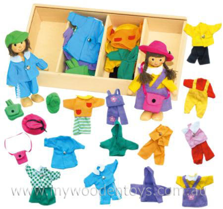 Boy and Girl Dress Up Wooden Dolls