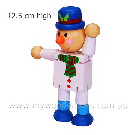Christmas Wooden Bendable Snowman