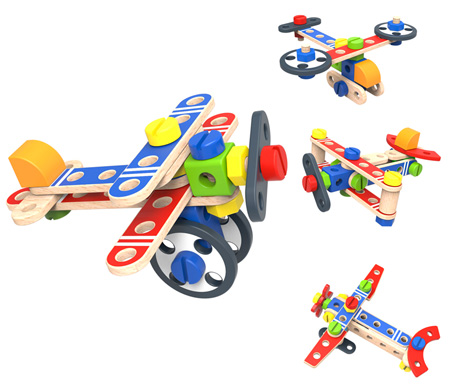Wooden DIY Construction Set Planes
