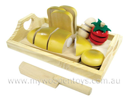Wooden Toys Play Food Velcro Cut Bread Set