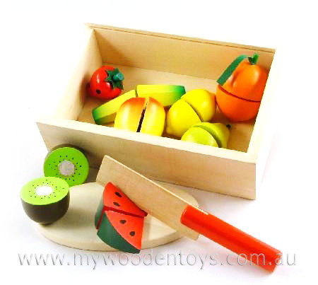 Wooden Toys Play Food Cutting Velcro Fruit Box