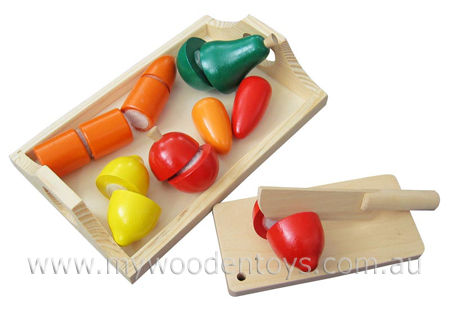 Wooden Toys Play Food Velcro Fruit and Veg