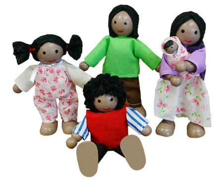 Wooden Toys Doll Family Black