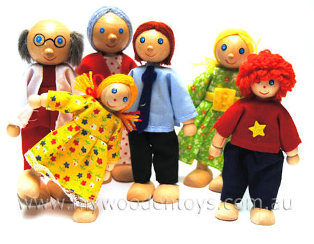 Wooden Toys Six Doll Family