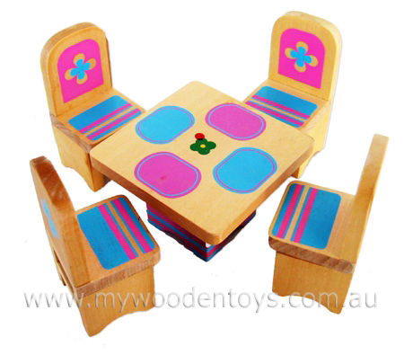Doll Furniture Dining Set Wooden