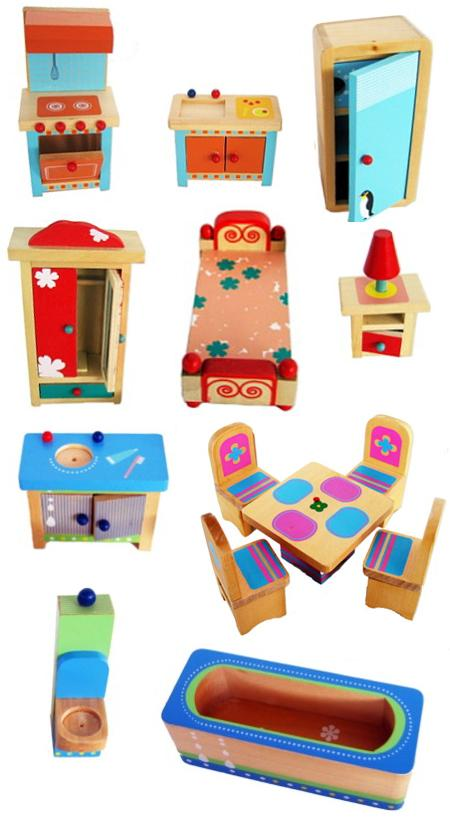 Doll Furniture Painted Set Wooden
