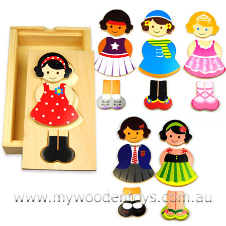 Wooden Puzzle Dress Up Girl