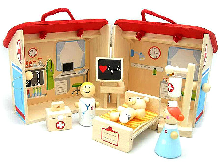 Wooden Hospital Doctor Nurse Playset
