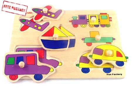 Wooden Toys Knob Puzzle Transport