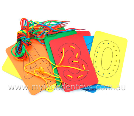 Lacing Number Wooden Cards are a simple set of colourful wooden cards ...