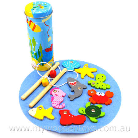 Magnetic Wooden Fishing Game in Tin