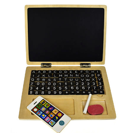 Magnetic Wooden Laptop Chalkboard
