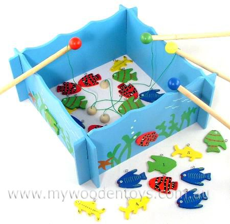 Magnetic fishing counting game at my wooden toys for Fishing fishing games