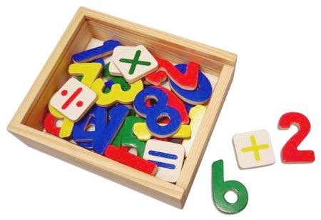 ... this number and maths set comes in a wooden box with a perspex lid