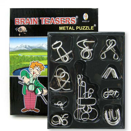 Metal IQ Puzzles Set Of 10