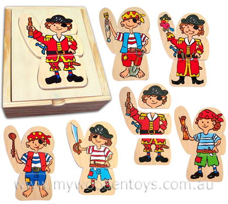 Dress Up Wooden Pirate Puzzle