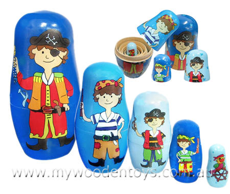 Pirate Russian Wooden Nesting Dolls