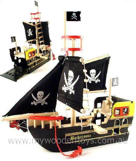 Wooden Toy Pirate Ship Barbarossa