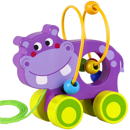 Pull Along Wooden Hippo