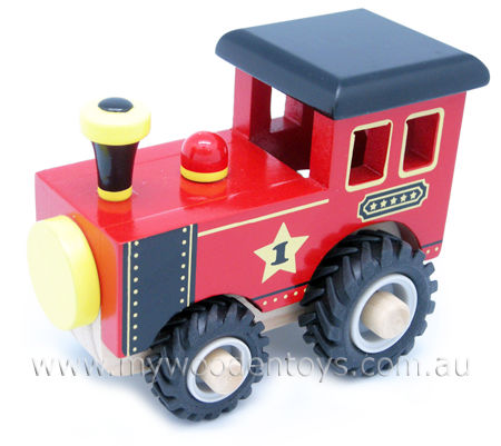 Red Wooden Train With Rubber Wheels