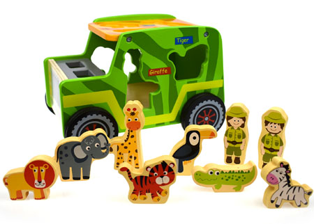 Safari Jeep Wooden Shape Sorter