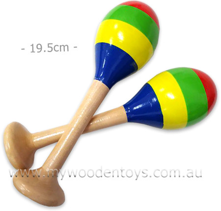 Wooden Toy Stripy Pair Maracas