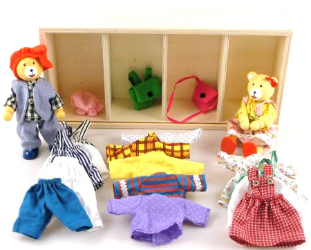 Wooden Toys Teddy Bears Wardrobe