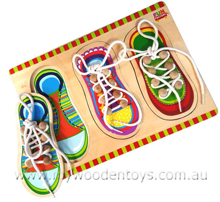 Wooden Toy Lace Up Shoe Puzzle