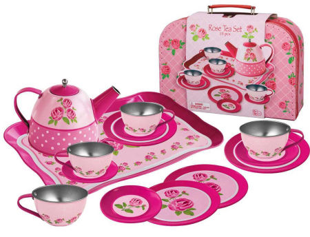 Tin Tea Set In Suitcase Rose Pattern