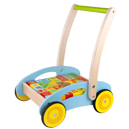 Wooden Baby Walker With Forest Blocks