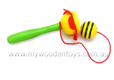 Wooden Bee & Ball Cup Game