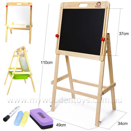 Wooden Blackboard Whiteboard Easel