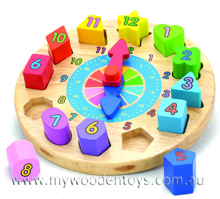 Block Sorting Wooden Round Clock