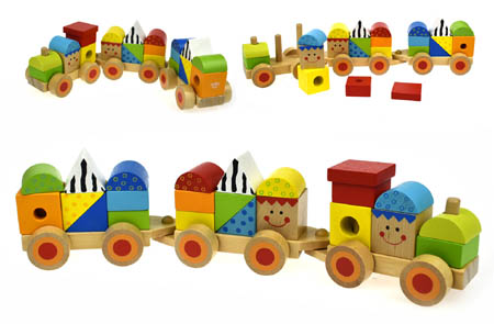 Wooden Block Train Push Toy