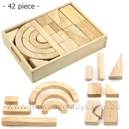 Wooden Blocks Beech 42pc Set