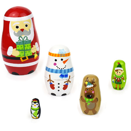 Wooden Christmas Nesting Dolls