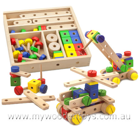 Wooden Toy Construction Set is a beautifully made 51 piece wooden ...
