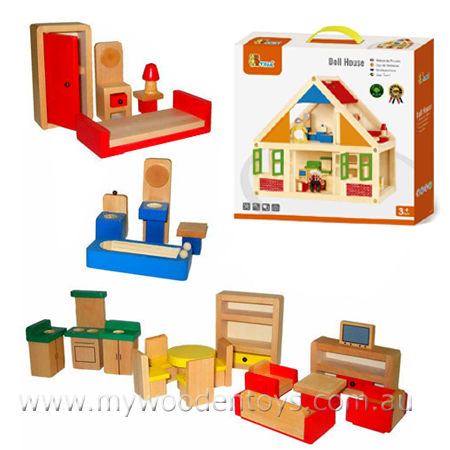 Exceptional Wooden Doll House With Furniture Detail