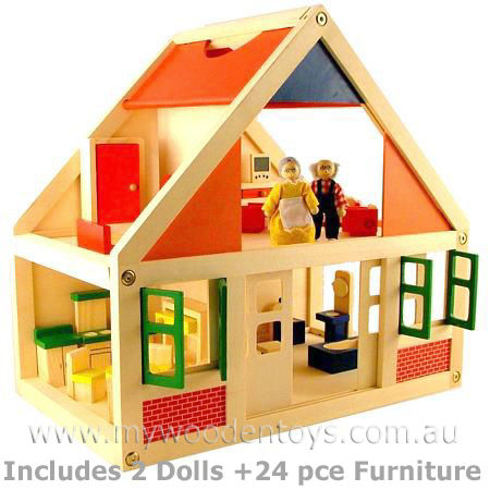 Wooden Doll House With Furniture My Wooden Toys