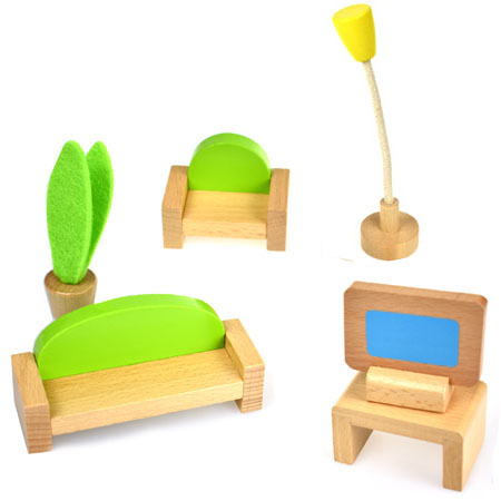Wooden Dolls House Living Room Furniture