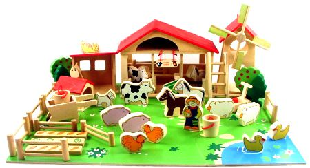Farm Set with Windmill on a Puzzle Base