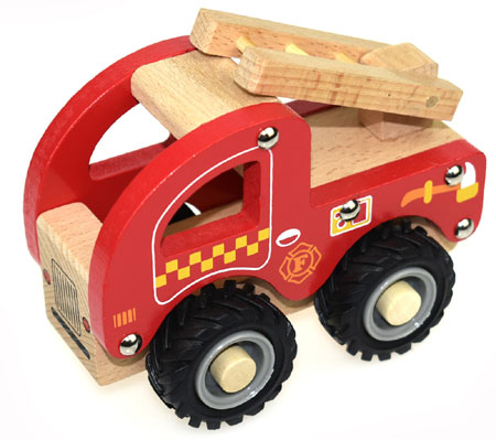 Wooden Fire Truck Rubber Wheels