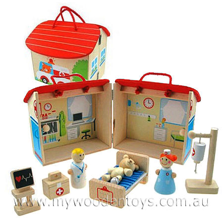 Wooden Hospital Doctor Nurse Playset is a wooden hospital building ...