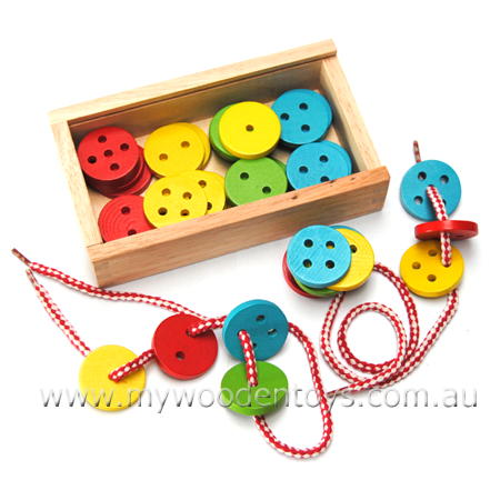 Lacing Threading Wooden Buttons